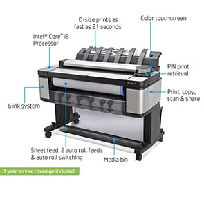 "HP DesignJet T3500 Large Format Multifunction Printer - 36"", with 100-Page Stacker & Extended Warranty (B9E24B)"