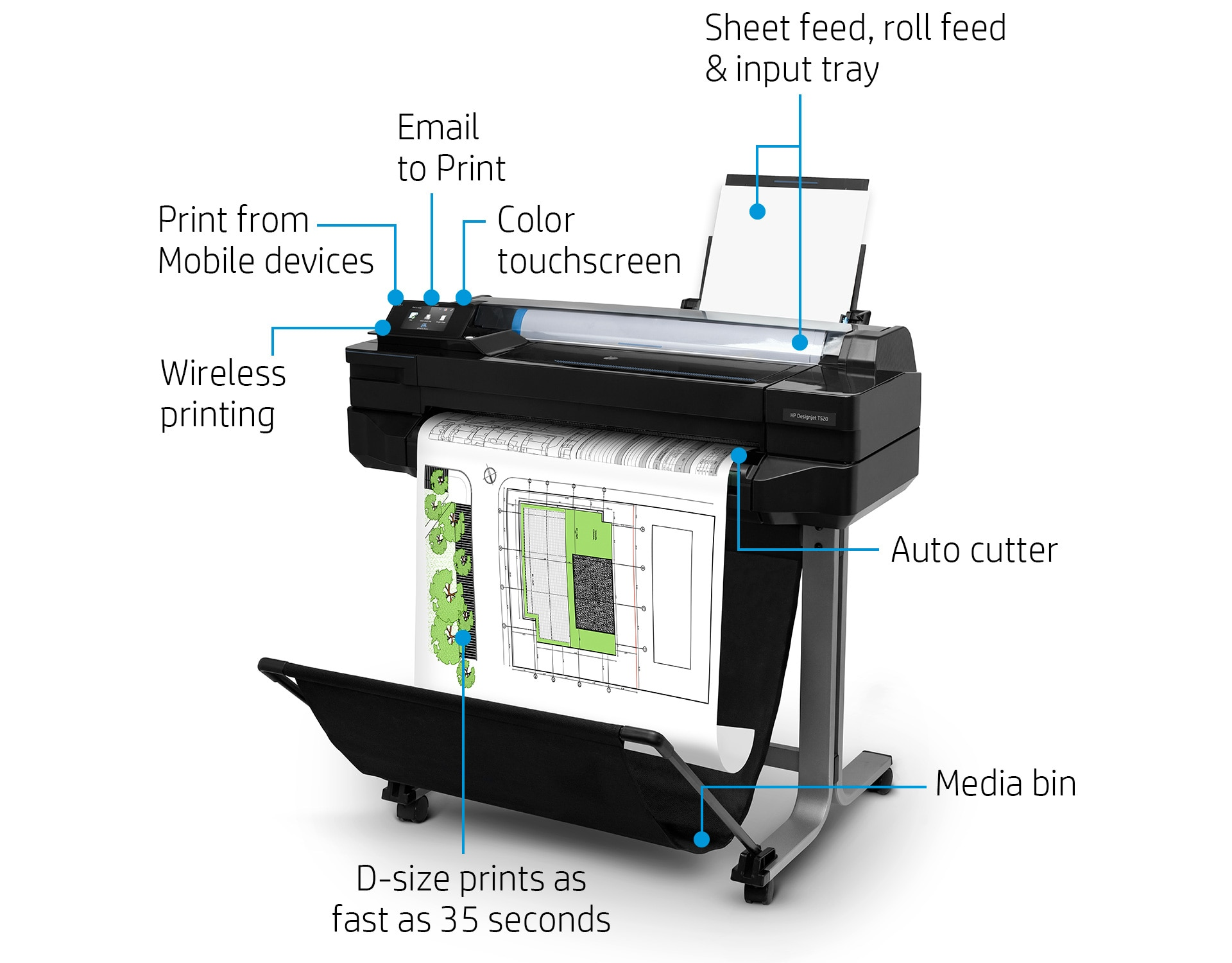 "HP DesignJet T520 Large Format Color Wireless Plotter Printer - 24"" & 36"""