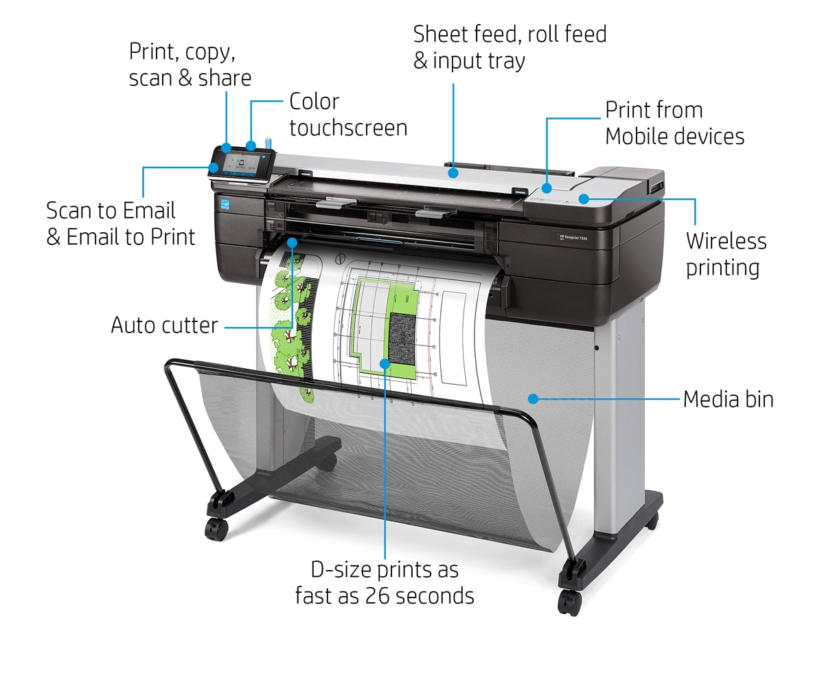 "HP DesignJet T830 Large Format Color Multifunction Wireless Plotter Printer - 24"" & 36"""