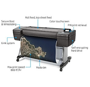 "HP DesignJet Z6 Large Format PostScript® Graphics Printer - 44"", with Advanced Security Features (T8W16A)"