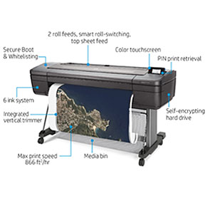 "HP DesignJet Z6dr Large Format Dual-Roll PostScript® Graphics Printer - 44"", with Vertical Trimmer (T8W18A/T8W18F)"