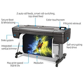 "HP DesignJet Z9+dr Large Format Dual-Roll PostScript® Photo Printer - 44"", with Vertical Trimmer (X9D24A/ X9D24F)"