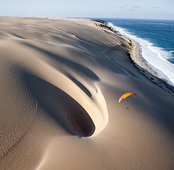 sand dunes on aerial view