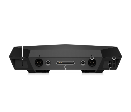 Bottom ports for HP VR backpack