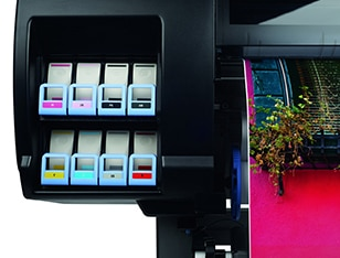 Close-up view of the HP DesignJet Z6800 Photo Production Printer ink cartridges