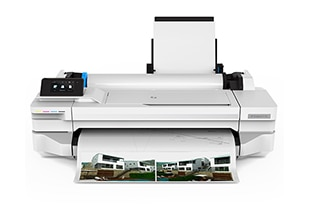 HP DesignJet T100 Printer front with printed output