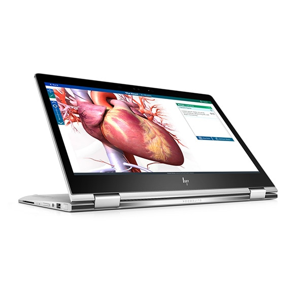 HP EliteBook x360 with image of heart on the screen