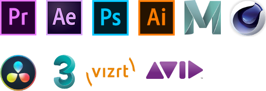 Adobe Premiere logo, Adobe After Effects logo, Adobe Photoshop logo, Adobe Illustrator logo, Autodesk Maya logo, Cinema 4D logo, Davinci resolve logo, Autodesk 3ds max logo, vizrt logo, avid media composer logo