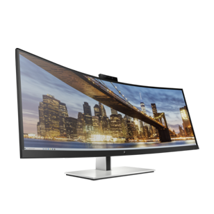 "right-facing S430c curved 43"" ultrawide screen size business monitor with bright colorful screen"