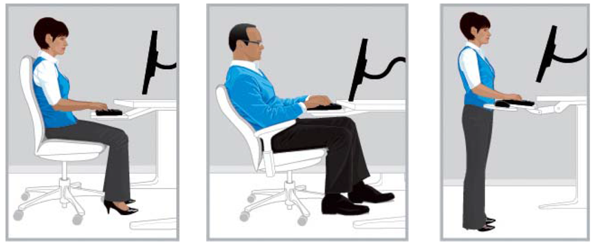 Three scenes showing ergonomic working positions: 1) Woman seated at desk typing on keyboard, 2) Man reclining in chair while typing on keyboard, 3) Women standing at desk typing on keyboard.