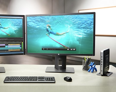 dual monitors with HP thin client