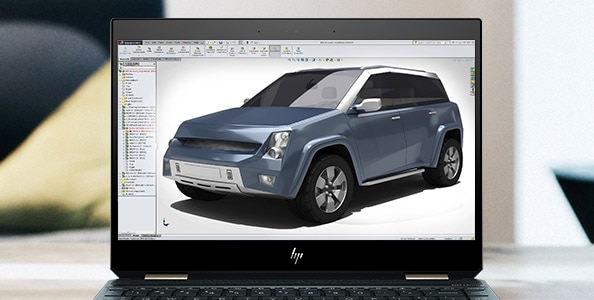 HP spectre 3D rendering example of a car on open screen
