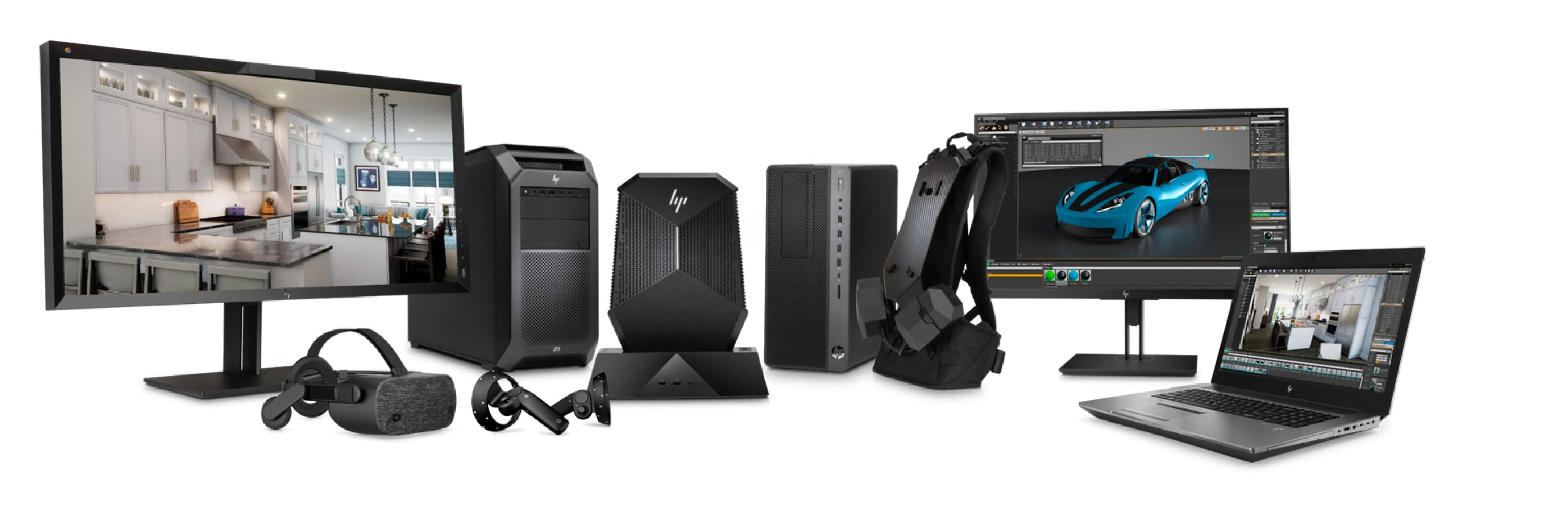 HP VR product assortment of monitors, desktops, headset, handsets, backpacks and laptops