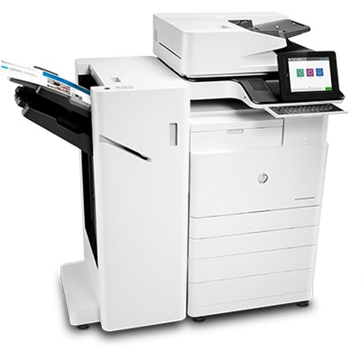 HP Color LaserJet Managed Flow MFP E77830z, right view, stapler/stacker, with paper