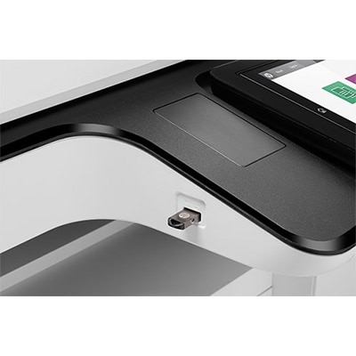 HP LaserJet Managed Flow MFP E82540z, detail view, USB in