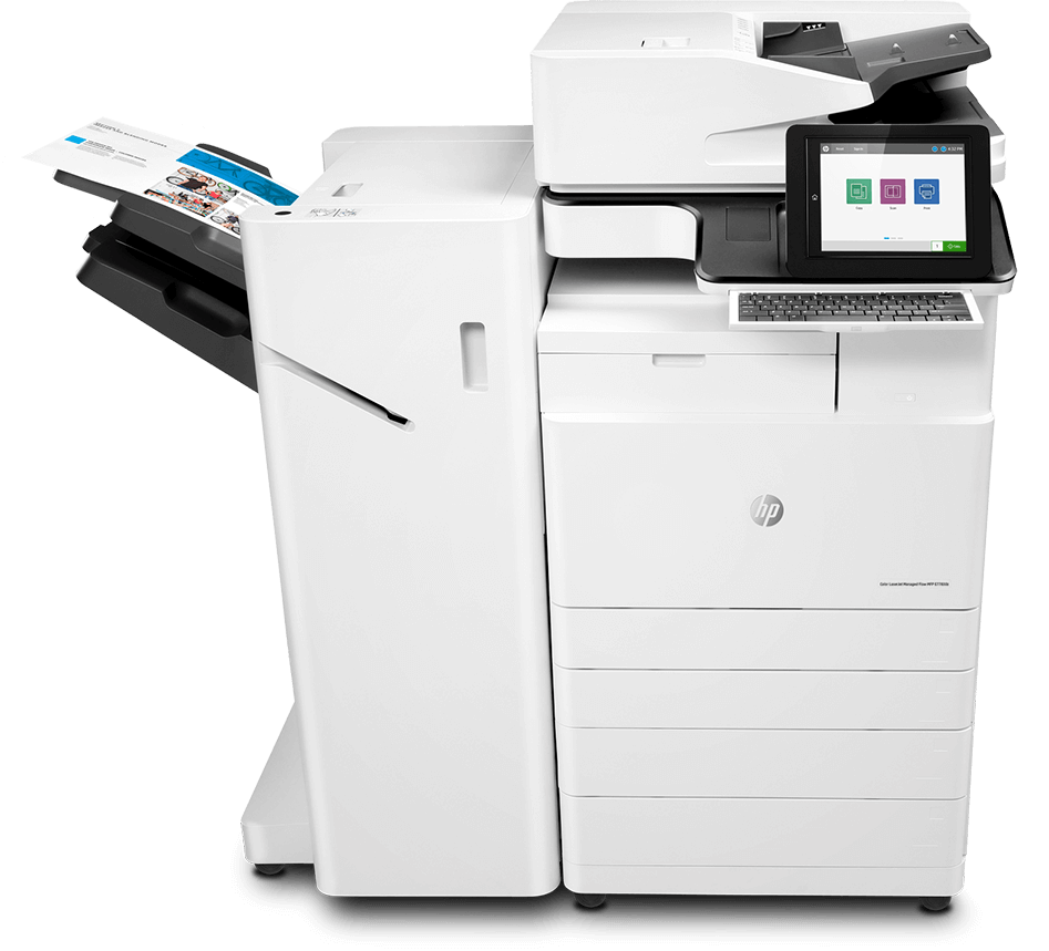 HP Color LaserJet Managed Flow MFP E77830z, center view, booklet maker, with paper