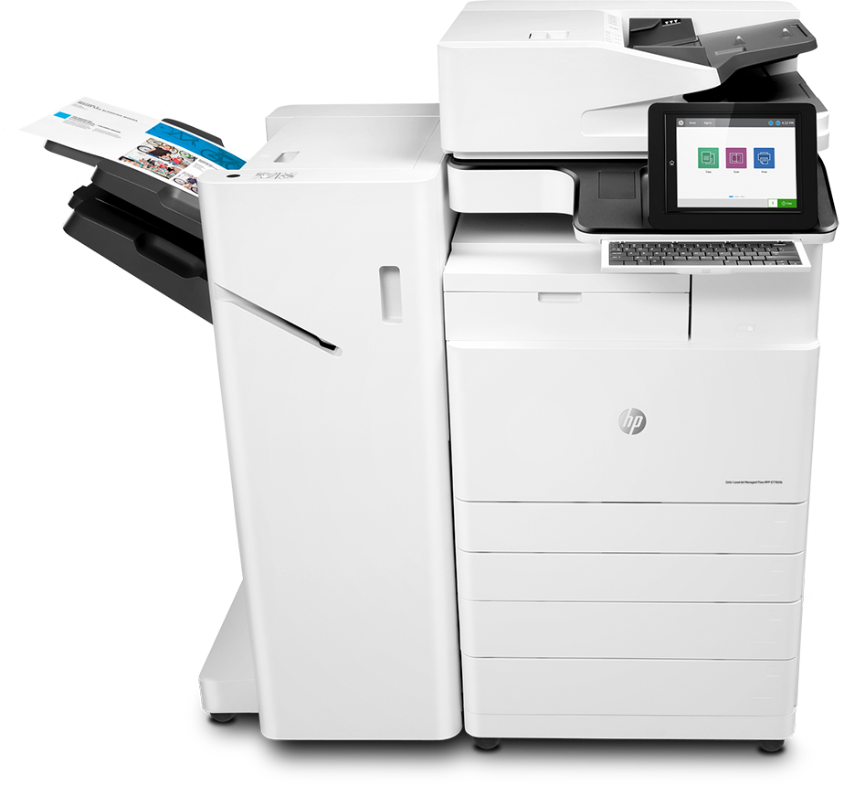 Impresora multifunción HP LaserJet Managed Flow E77830z, vista central, confeccionador de folletos, con papel