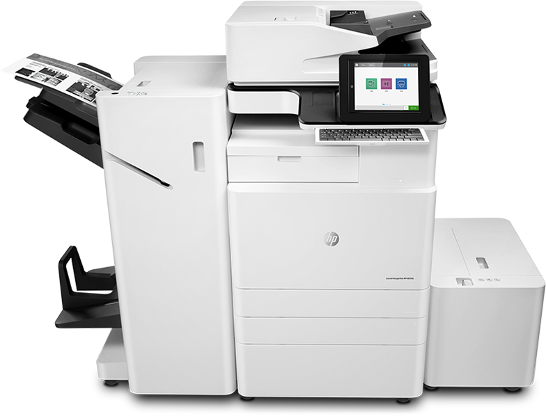 HP LaserJet Managed Flow MFP E82540z, center view, booklet maker, HCI, with paper