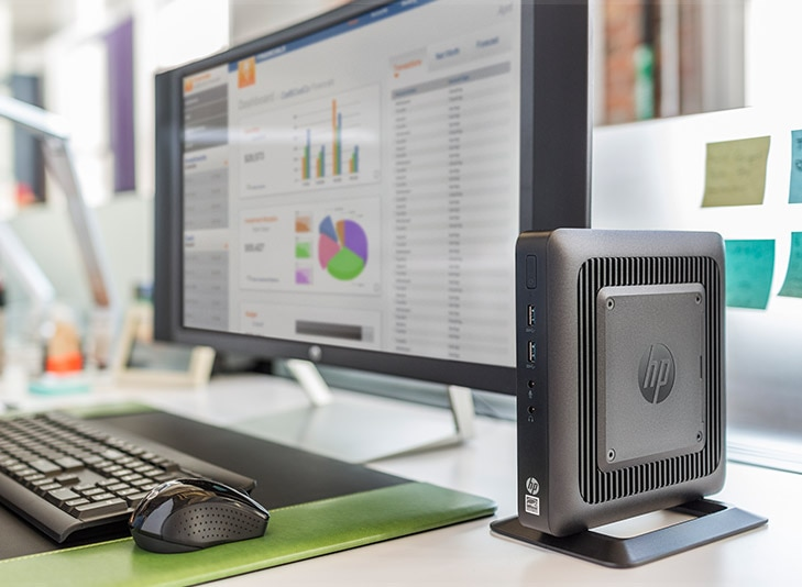 HP Thin client desktop and monitor