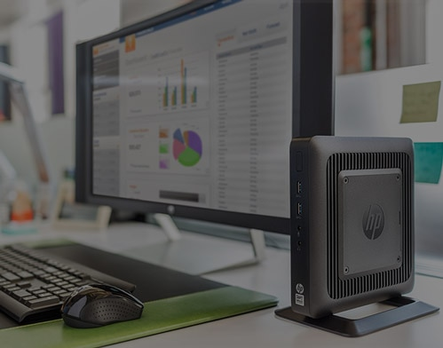 HP Thin Client Software displaying on HP Monitor next to desktop