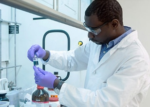 Image of a man working in a lab