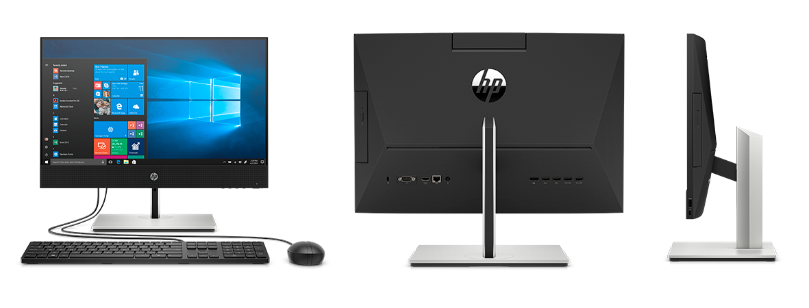 Front, back and side view of HP ProOne business all in one PCs