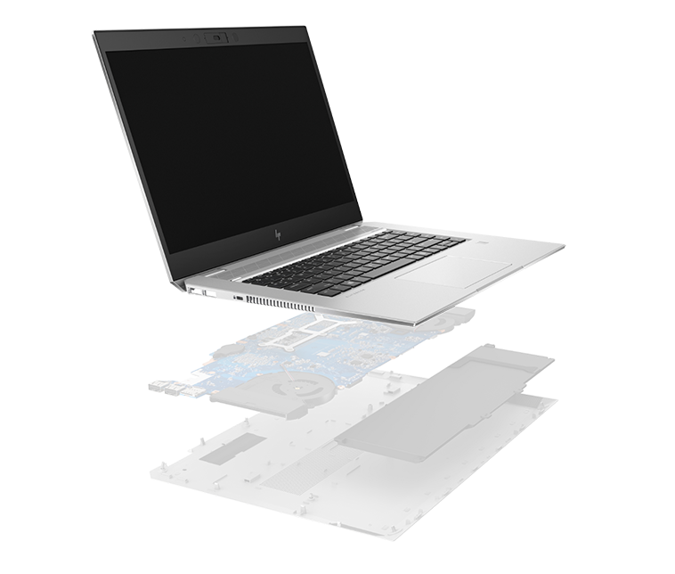 exploded elitebook 1050 business laptop with top keyboard layer lit up