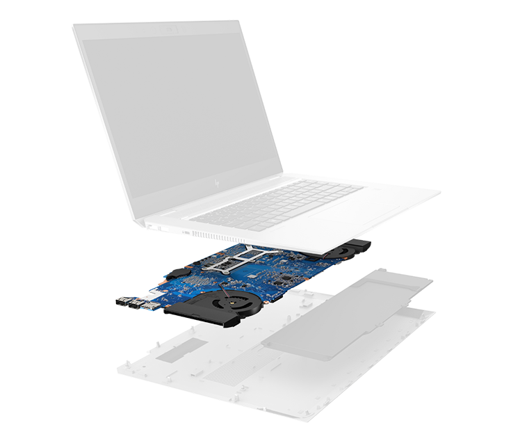 exploded elitebook with software layer lit up
