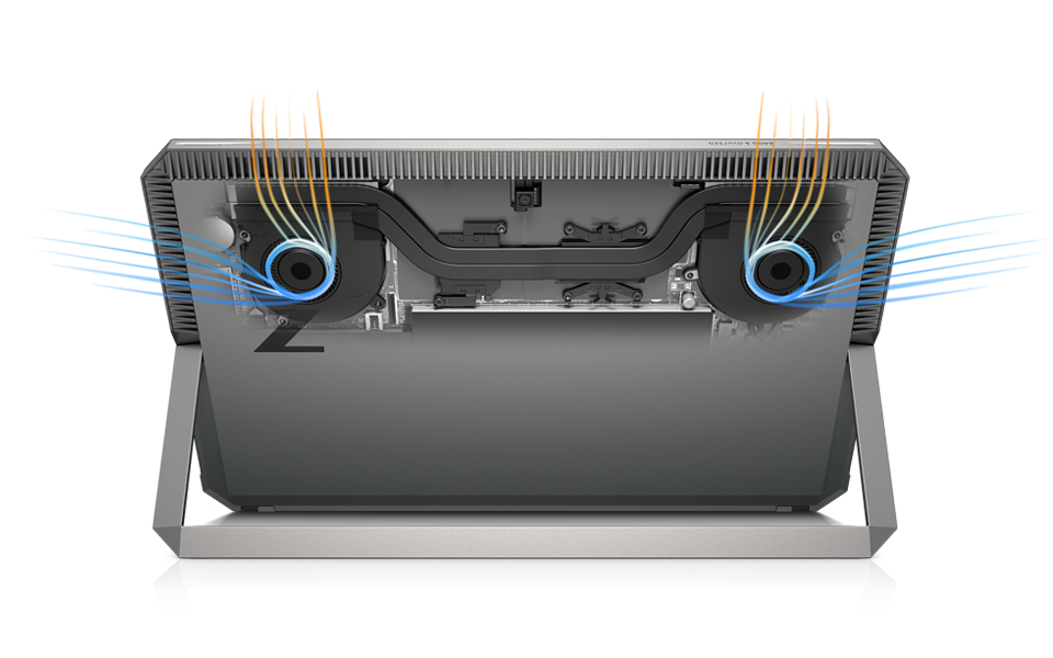 ZBook x2 interior view with airflow