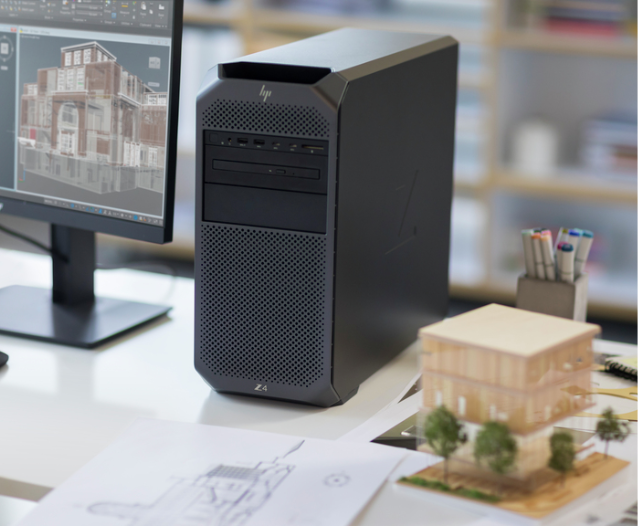 HP Z2 Tower workstation on a desk.