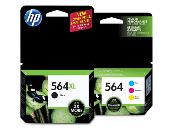HP 564XL/564 High Yield Black and Standard Color Ink Cartridge Bundle - Center