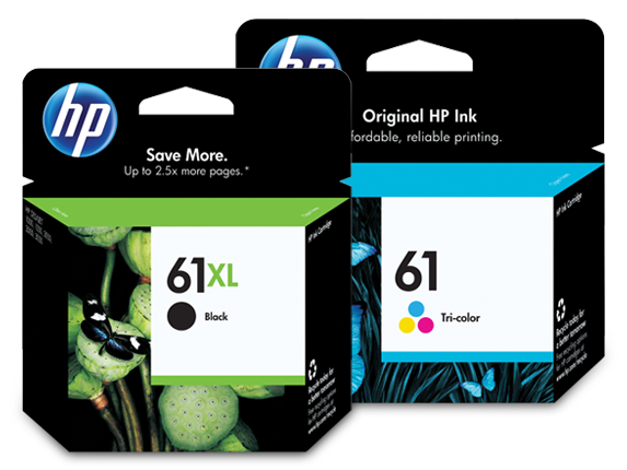 HP 61XL/61 High Yield Black and Standard Tricolor Ink Cartridge Bundle - Center
