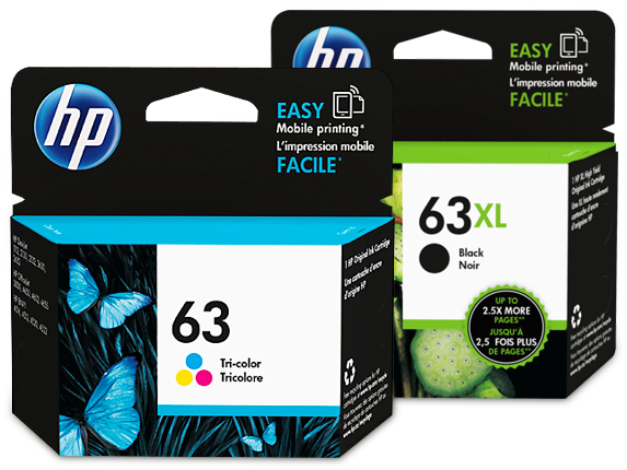 HP 63XL/63 High Yield Black and Standard Tricolor Ink Cartridge Bundle - Center