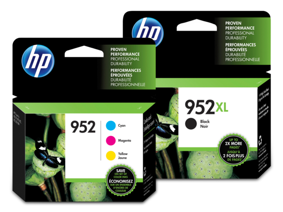 HP 952XL/952 High Yield Black and Standard Color Ink Cartridge Bundle - Center