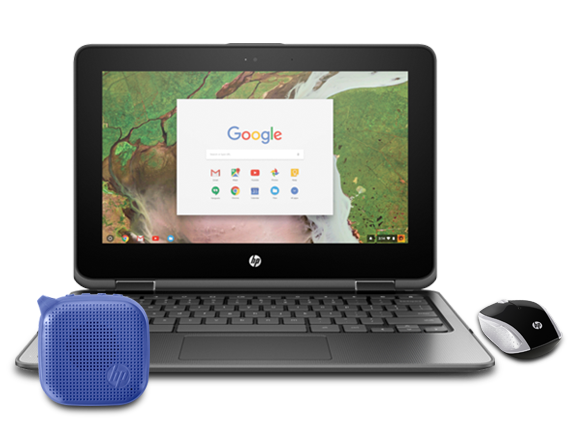"HP Chromebook x360 11"" Laptop, Mini Speaker + Mouse Bundle - Center"