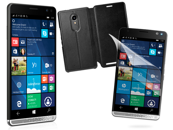 HP Elite x3, Wallet Folio Case, + Glass Screen Protector Bundle