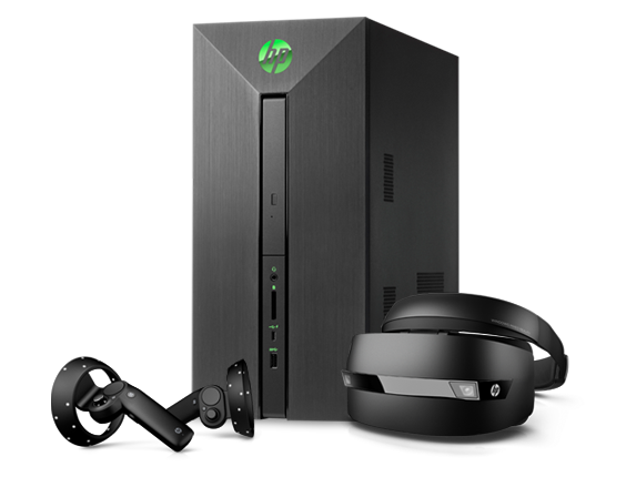 HP Pavilion Power Desktop - 580t + Mixed Reality Headset Bundle - Center