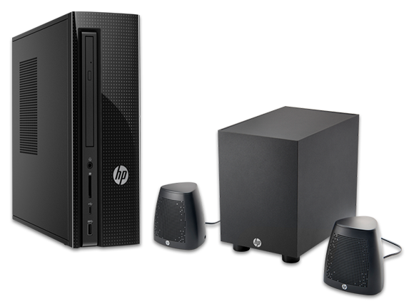 HP Slimline Desktop - 270-p025xt + Speaker System Bundle - Center
