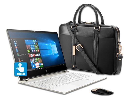HP Spectre - 13 Laptop, Topload Case, + Gold Wireless Mouse Bundle