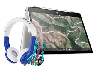 "HP Chromebook 12"" x360 + Blue BuddyPhone Explorer Kids Wired Headset Bundle - Img_Center_320_240"