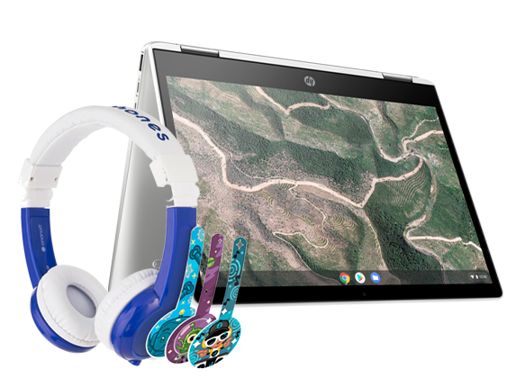 "HP Chromebook 12"" x360 + Blue BuddyPhone Explorer Kids Wired Headset Bundle - Center"