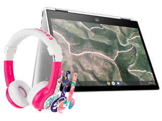 "HP Chromebook 12"" x360 + Pink BuddyPhone Explorer Kids Wired Headset Bundle"