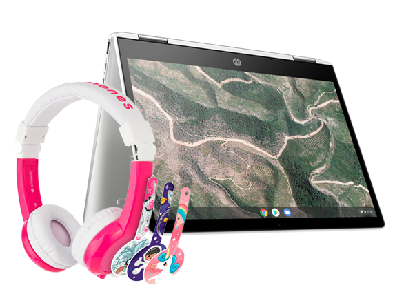 "HP Chromebook 12"" x360 + Pink BuddyPhone Explorer Kids Wired Headset Bundle - Center"