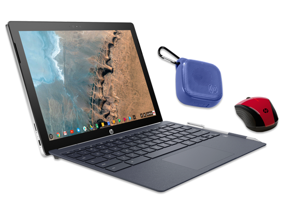 "HP Chromebook x2 12"" Detachable PC, Wireless Mouse + Bluetooth Speaker Bundle - Center"