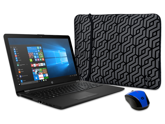 "HP 15"" Notebook, Wireless Mouse + Reversible Neoprene Sleeve Bundle - Center 