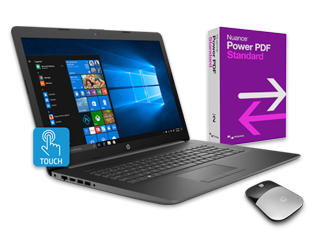 "HP 17"" Touch Laptop, Power PDF + Wireless Mouse Bundle"