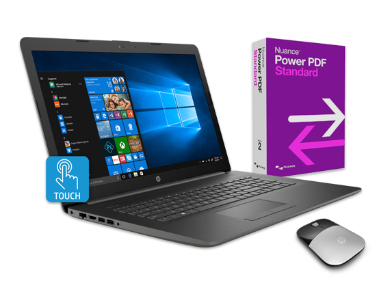 "HP 17"" Touch Laptop, Power PDF + Wireless Mouse Bundle - Center"