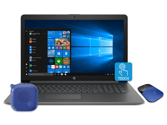 "HP 17"" Touch Laptop, Bluetooth® Speaker + Wireless Mouse Bundle - Center"