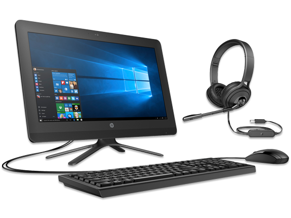 "HP 20"" All-in-One PC + USB Headset Bundle - Center"
