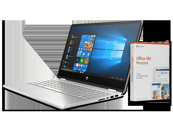 "HP Pavilion 14"" PC + Microsoft Office 365 Personal (download) Bundle - Center"